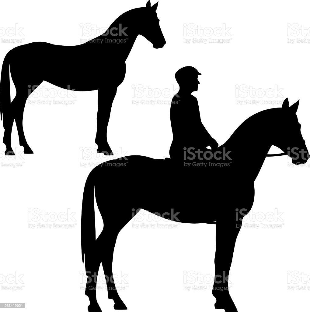 standing horse vector art illustration
