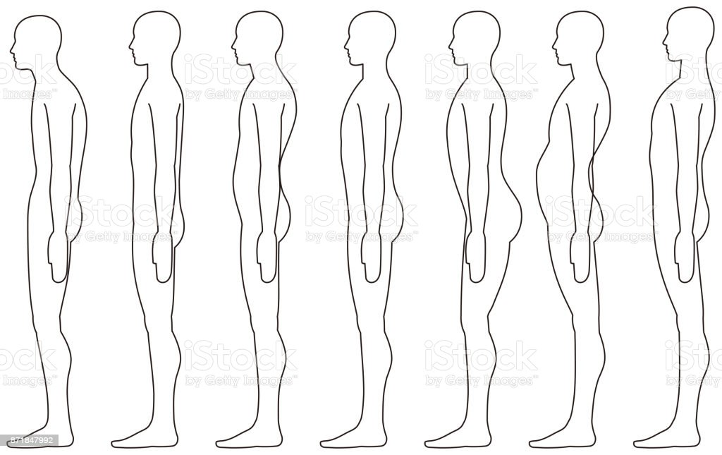 standing human, Side posture. vector art illustration