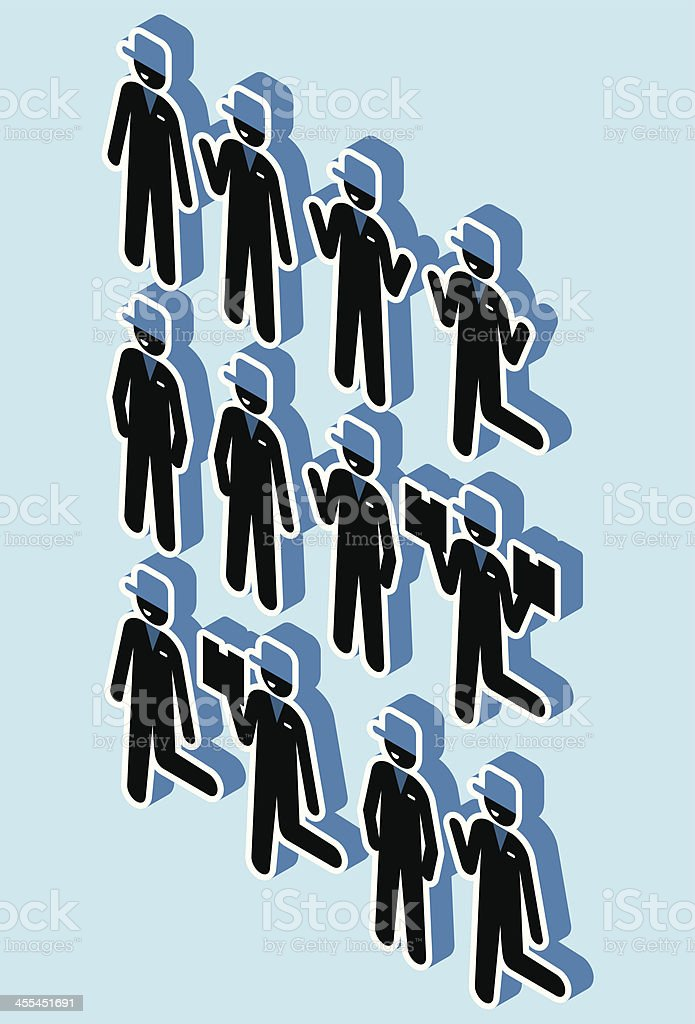 Standing isometric delivery man icons royalty-free stock vector art