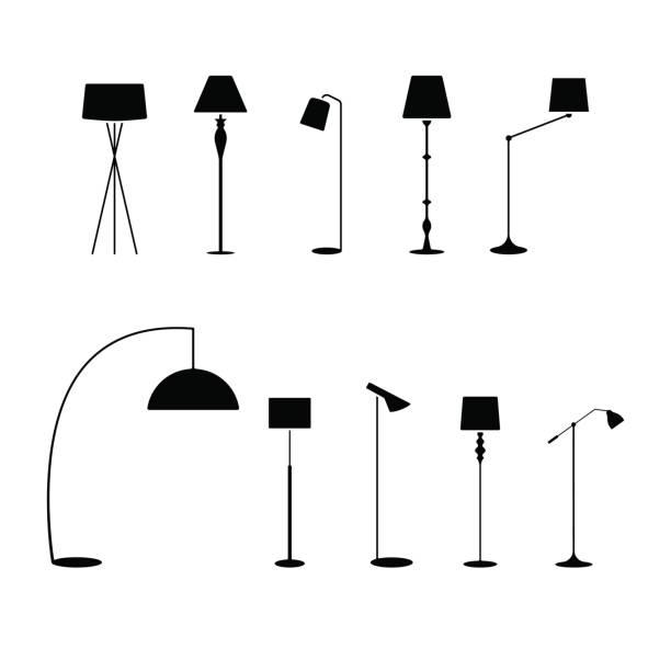 stehende lampenschirm-icon-set. vektor-illustration mode kollektion elektrische stehleuchte piktogramm auf weißem - lampenshop stock-grafiken, -clipart, -cartoons und -symbole