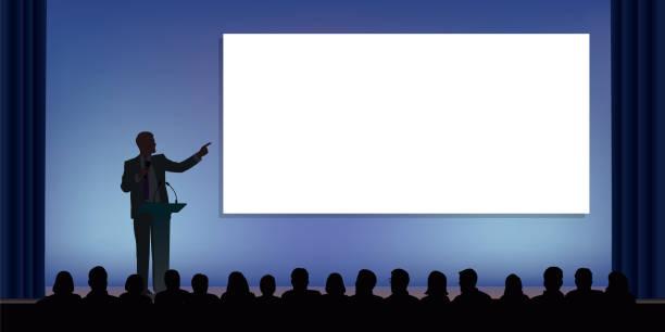 bildbanksillustrationer, clip art samt tecknat material och ikoner med en ständig ledare på scenen, presenterar sitt projekt för en publik - speaker