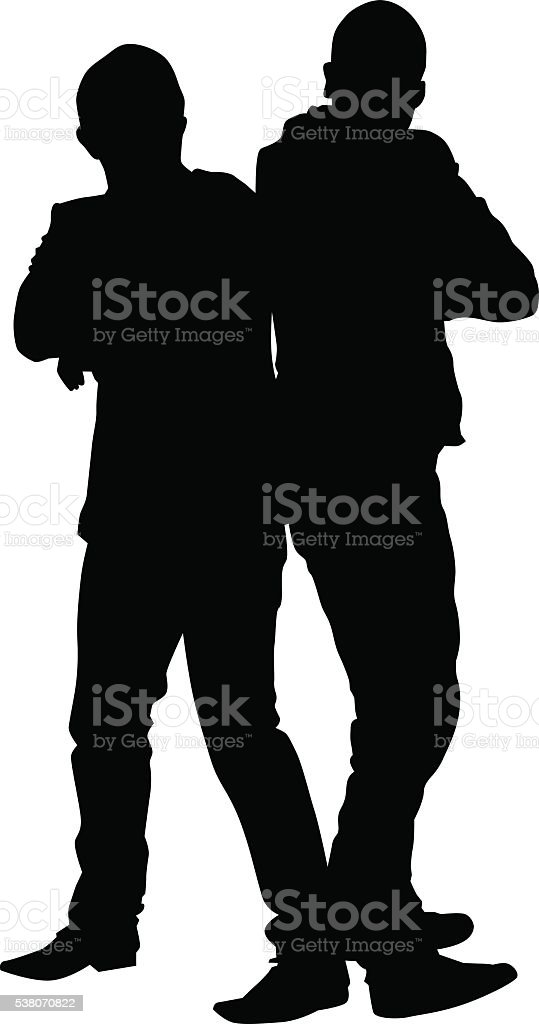 Standing man couples vector art illustration