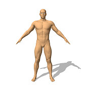 Standing man. Isolated on white background. 3d vector illustration.