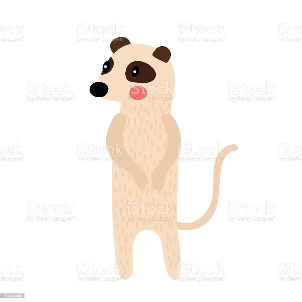 Standing Meerkat animal cartoon character vector illustration. vector art illustration