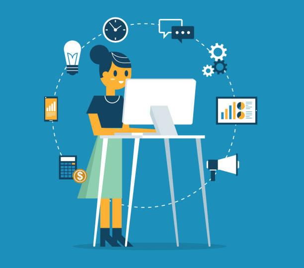Standing Office - Businesswoman vector art illustration