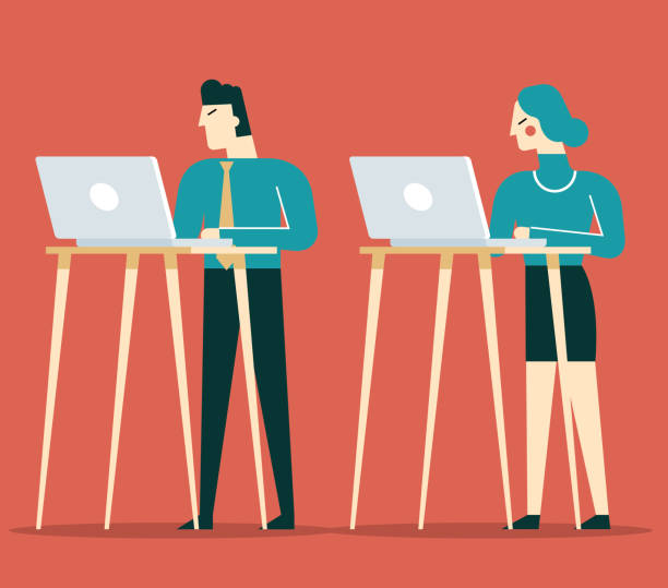 Standing Office Standing Office with Business people good posture stock illustrations