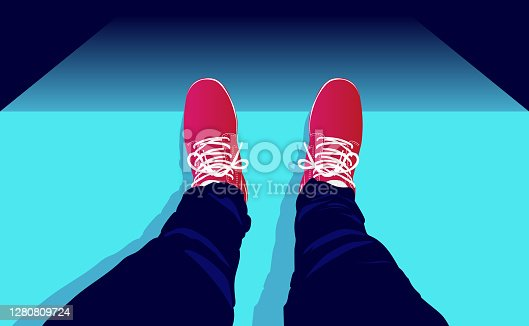 Legs and feet on a peak looking down. Danger, adrenaline rush and risk taking concept. Vector illustration.