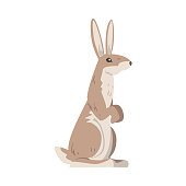 istock Standing on Hind Legs Hare or Jackrabbit as Swift Animal with Long Ears and Grayish Brown Coat Vector Illustration 1326975310