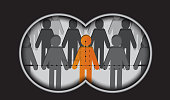 An orange colored man standing out from the crowd. Can be used Individuality, Recruitment, Searching, Discovery concepts.