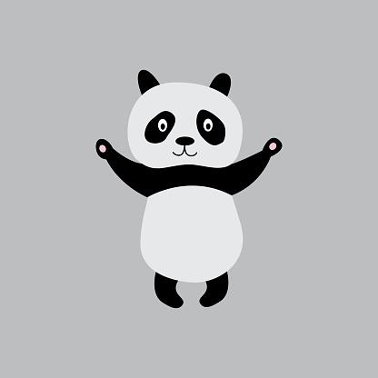 Standing panda full length cartoon character, flat vector illustration isolated.