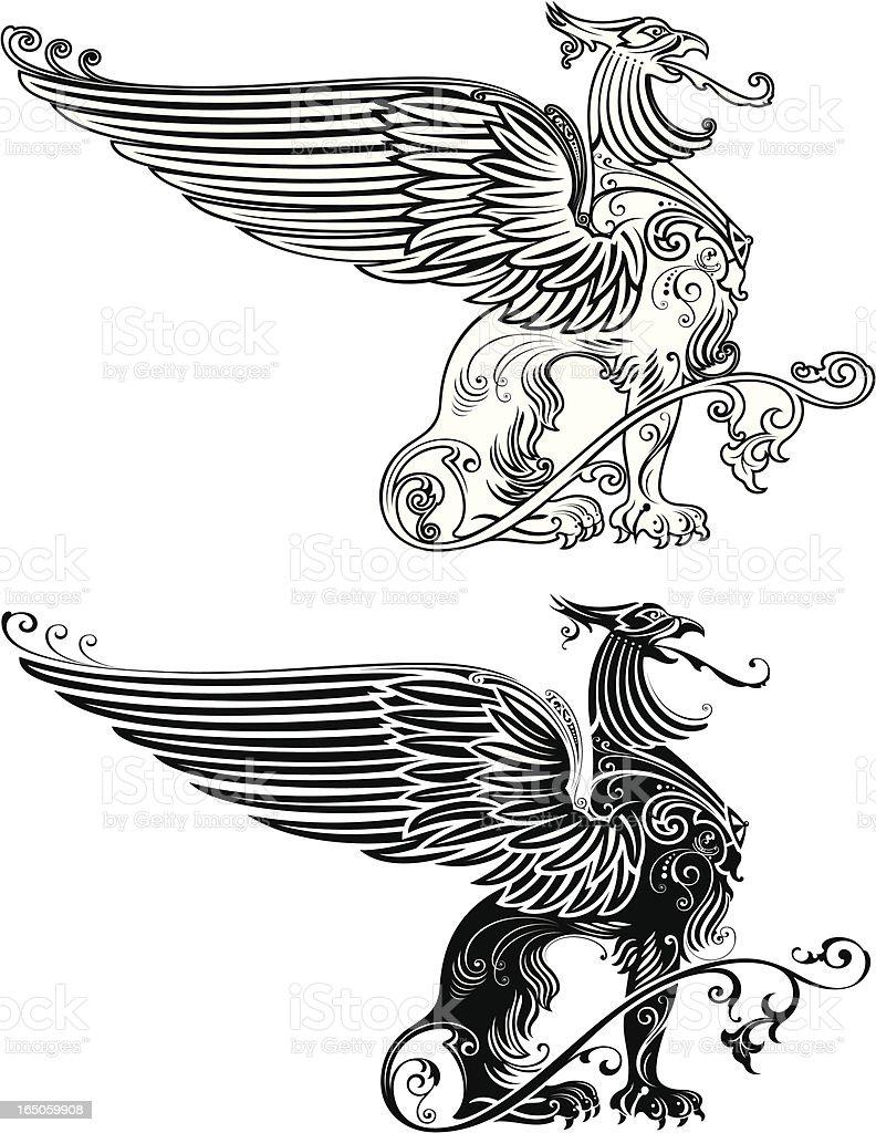 Standing Phoenix Illustration royalty-free stock vector art