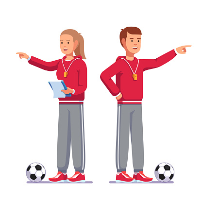 Standing pointing finger soccer coach man and woman talking instructing football team, holding paperclip notes. Football game coach in sports uniform. Flat style vector clipart