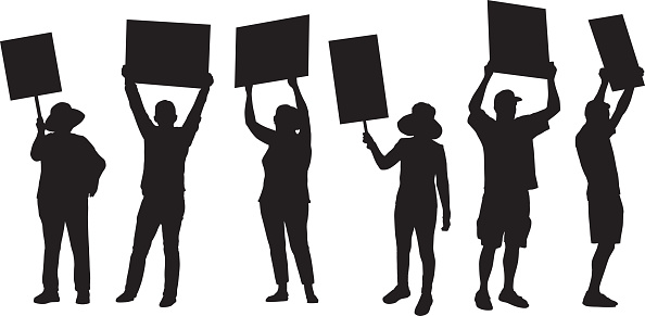 Standing Protester Silhouettes