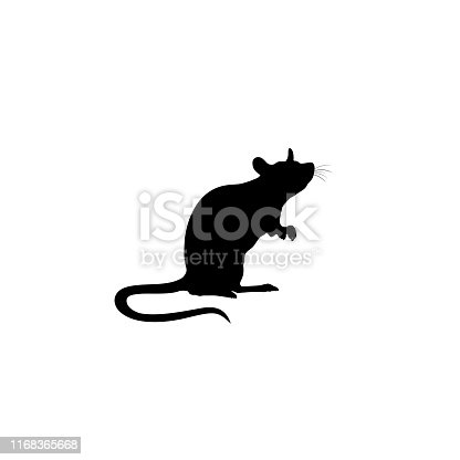 Standing Rat silhouette. Rat icon. vector sign