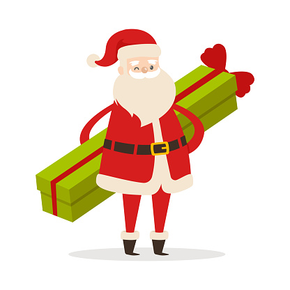 Standing Santa with Long Gift on White Background