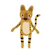 Standing Serval Cat animal cartoon character vector illustration.