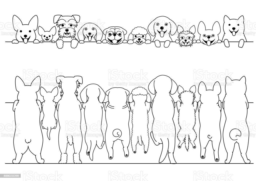 立っている小型犬フロントと後ろのラインの境界線を設定 ベクターアートイラスト