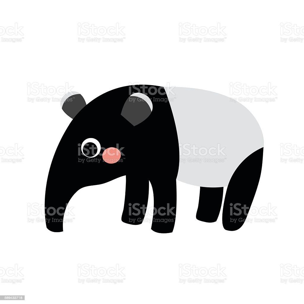 Standing Tapir animal cartoon character vector illustration. vector art illustration