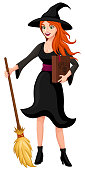 Vector illustration of a pretty red-haired witch standing with her broom and a book of spells.