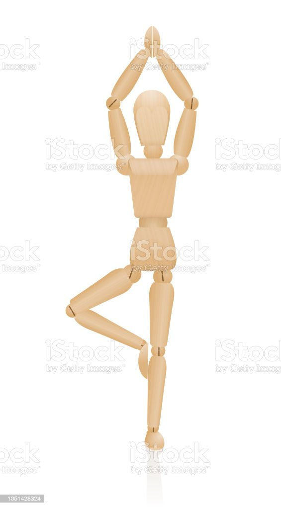 Pose de ioga em pé. Pose de árvore ou Vrikshasana. Figura de madeira de pé em uma perna com os braços levantados acima da cabeça - exercício de equilíbrio, relaxamento, concentração e meditação.  Vector sobre branco. - ilustração de arte em vetor