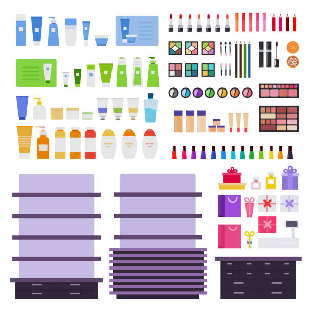 Stands and cosmetic products vector flat illustration. Set with lipstick, eye shadow, nail polish, mascara, cream, web shop. Isolated on white Stands and cosmetic products vector flat illustration. Set with gift boxes, nail polish, shampoo, body lotion, powder, rouge for web shop. Isolated on white background. white nail polish stock illustrations