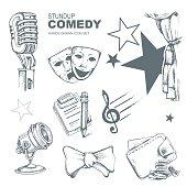 standup comedy icons set