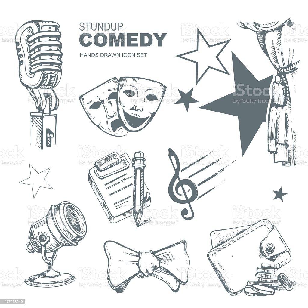 standup comedy icons set vector art illustration