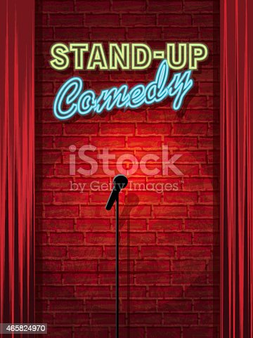 istock Stand-up Comedy Night stage with neon sign and brick wall 465824970