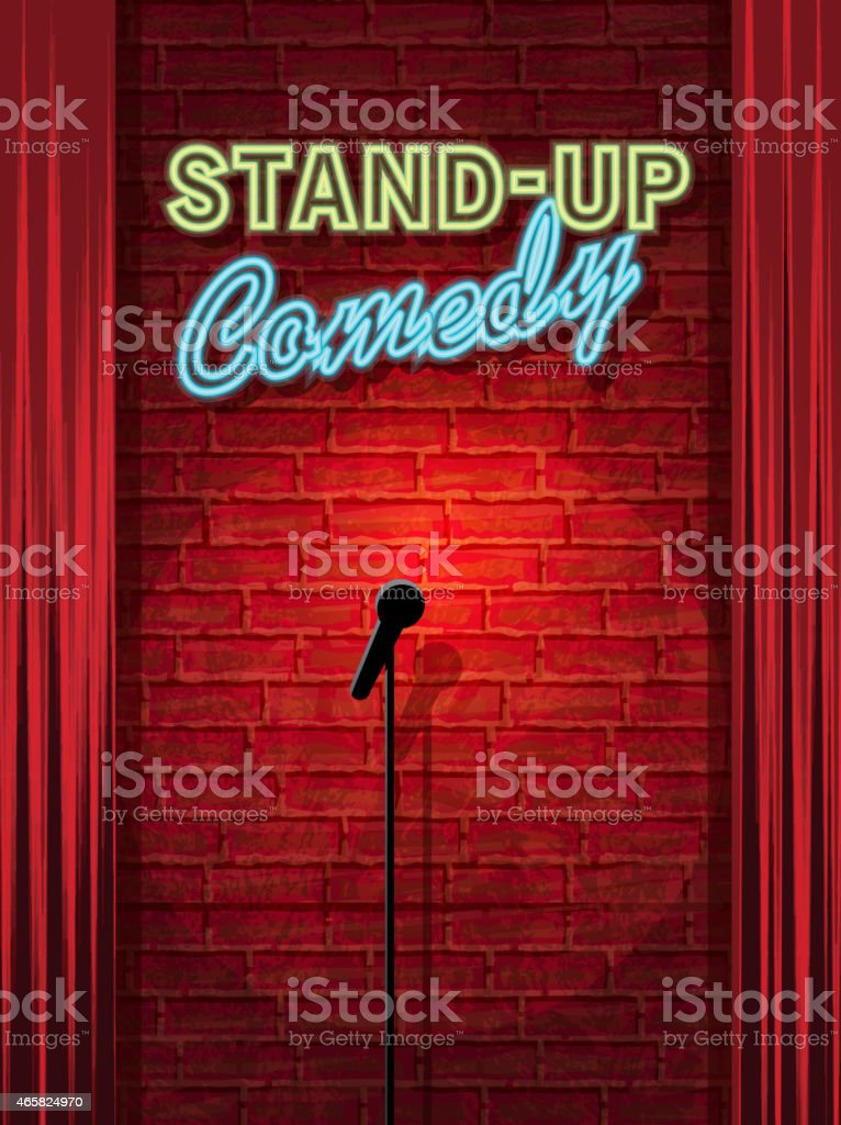 Stand-up Comedy Night stage with neon sign and brick wall vector art illustration