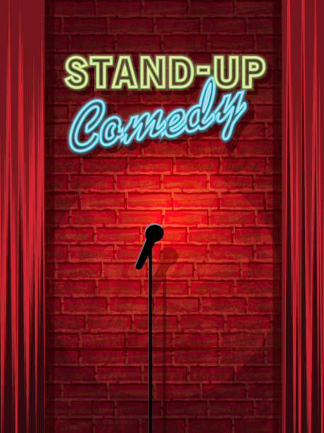 stockillustraties, clipart, cartoons en iconen met stand-up comedy night stage with neon sign and brick wall - humor