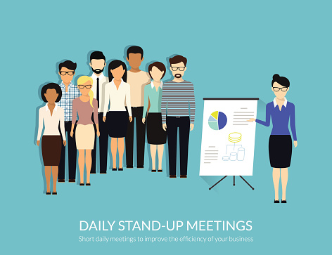 Standup Meeting Stock Illustration - Download Image Now