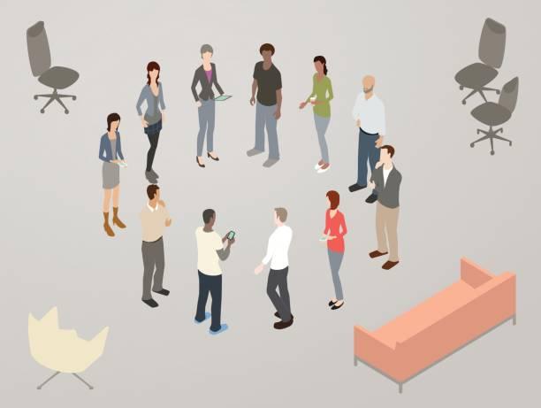 Standup scrum meeting illustration vector art illustration