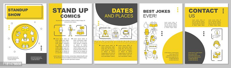Standup show brochure template layout. Event in theatre. Concert, cinema. Flyer, booklet print design with linear illustrations. Vector page layouts for magazines, annual reports, advertising posters