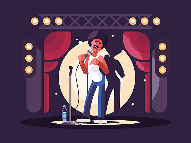 standup show character design - comedian stock illustrations