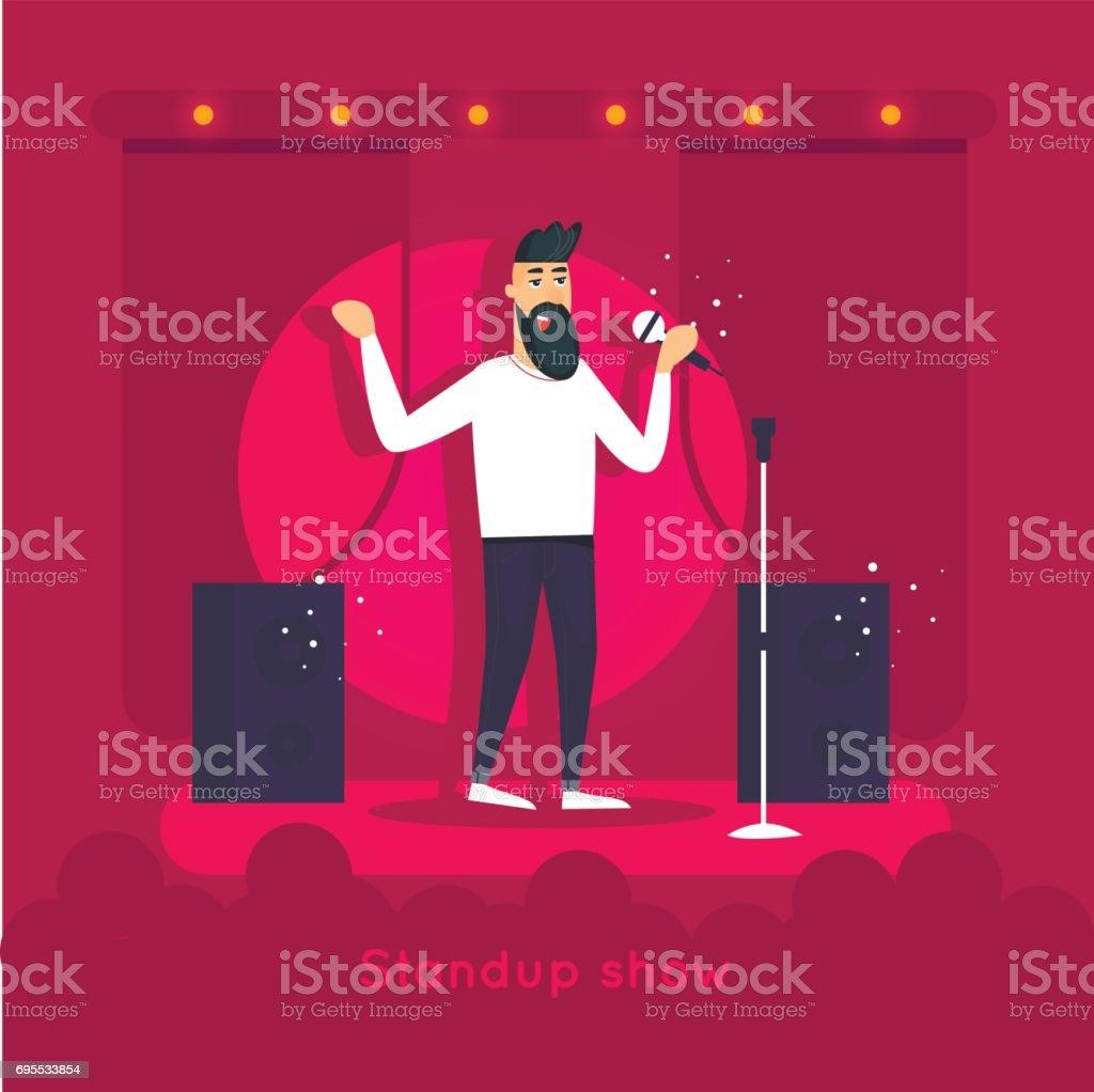 立ち上がりを見る男がステージ上を実行しますキャラクター デザイン