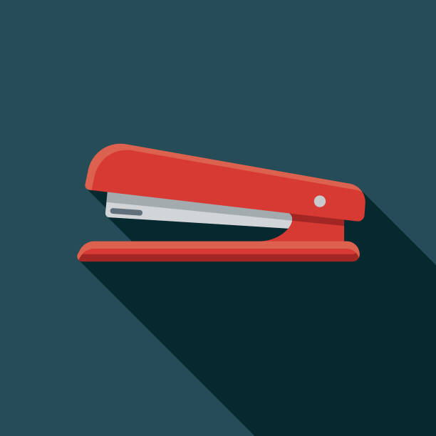 Stapler Office Supply Icon A flat design icon with a long shadow. File is built in the CMYK color space for optimal printing. Color swatches are global so it's easy to change colors across the document. stapler stock illustrations