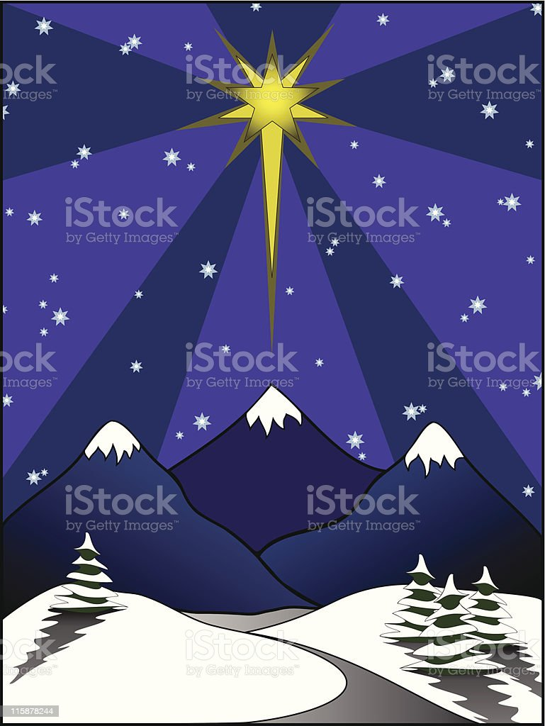 Star above Snowy Scene royalty-free star above snowy scene stock vector art & more images of cold temperature