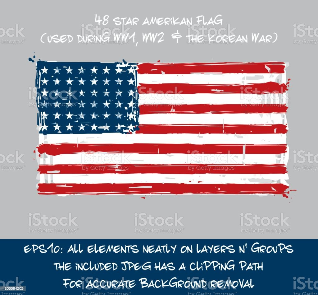 48 Star American Flag Flat - Artistic Brush Strokes and Splashes vector art illustration