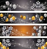 A vector illustration to show star and balloon banners