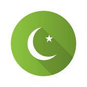 Star and crescent moon flat design vector icon. Ottoman flag. Ramadan moon