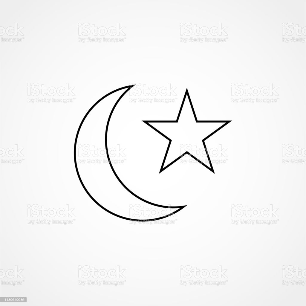 Star And Crescent Symbol Of Islam Line Icon For Apps And