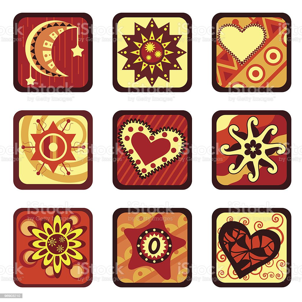 star and heart design set royalty-free stock vector art