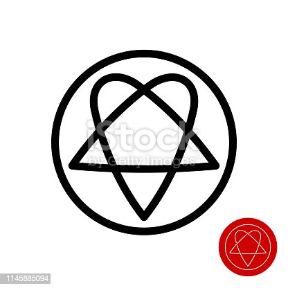 Star and heart line style symbol. Tattoo template. Editable stroke width.