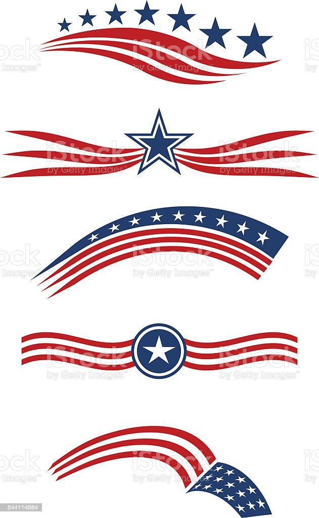 USA star and stripes  icon set design elements vector vector art illustration
