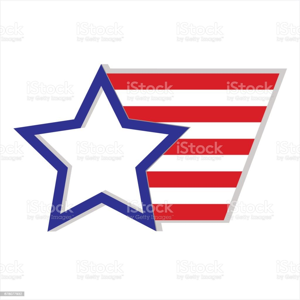 Star and stripes symbol USA vector art illustration