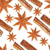 Star anise, cinnamon watercolor illustration isolated on white background, Hand drawn seamless pattern badian, Design food, Organic spice ingredient for healthy market, restaurant menu, aromatherapy