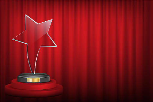 Star award on trophy realistic 3D illustration