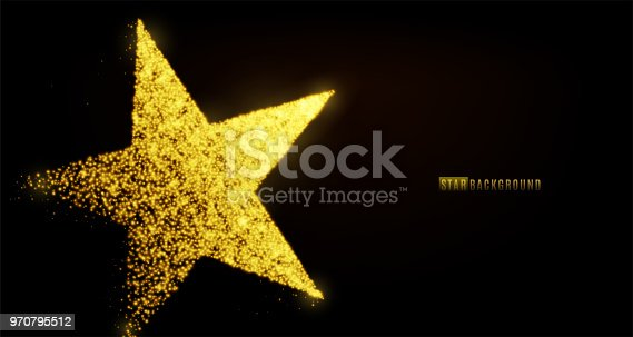 Star banner background design with glowing particles isolated on dark black backdrop. Copy space. Light golden star shape consist of shine, glitter, glow, spark effect. Vector illustration