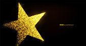 Star banner background design with glowing particles isolated on dark black backdrop. Copy space. Light golden star shape consist of shine, glitter, glow, spark effect
