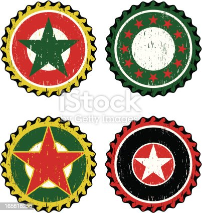 Set of beer caps with stars
